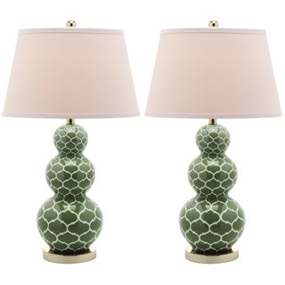 Moroccan Triple Gourd Green 1-light Table Lamps (Set of 2)