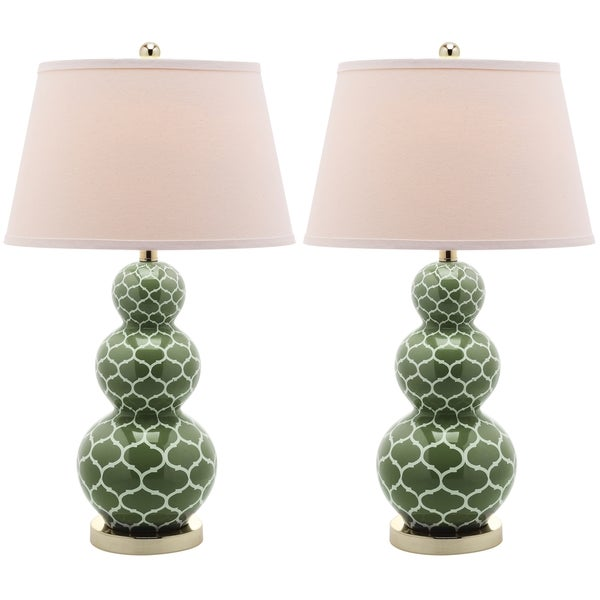 Safavieh Moroccan Triple Gourd Green 1-light Table Lamps (Set of 2)