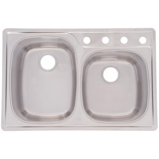 Offset Double Bowl 9.5-inch Deep Stainless Steel Sink