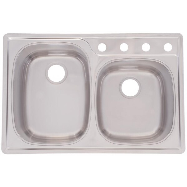 Franke Offset Double Bowl 9.5-inch Deep Stainless Steel Sink