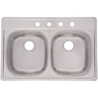 Double Bowl Top Mount 9.5-inch Deep Stainless Steel Sink