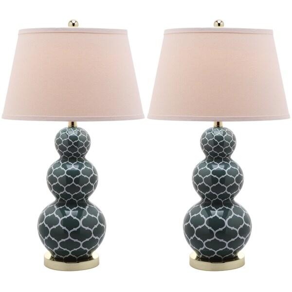 Safavieh Moroccan Triple Gourd 1-light Marine Blue Table Lamps (Set of 2)