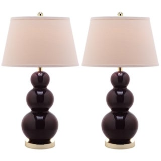 Safavieh Lighting 27-inches Amy Triple Gourd Dark Purple Table Lamps (Set of 2)