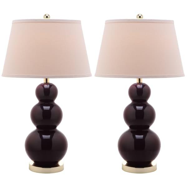 Safavieh Amy Triple Gourd 1-light Dark Purple Table Lamps (Set of 2)