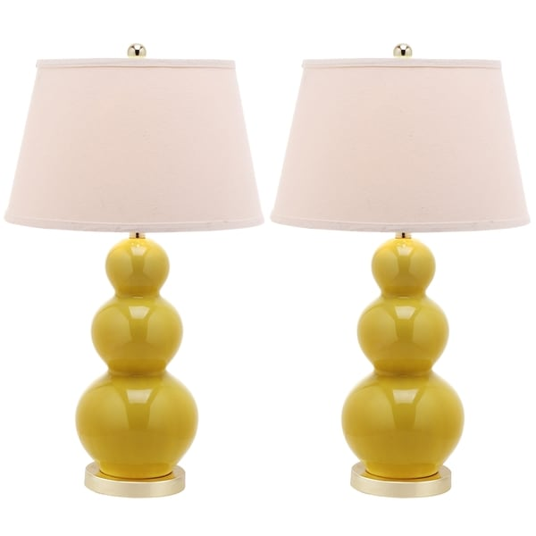 Safavieh Amy Triple Gourd 1-light Yellow Table Lamps (Set of 2)
