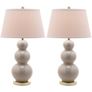 Amy Triple Gourd 1-light Pearl White Table Lamps (Set of 2)