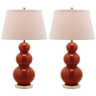 Safavieh Lighting 27-inch Amy Triple Gourd Orange Table Lamps (Set of 2)
