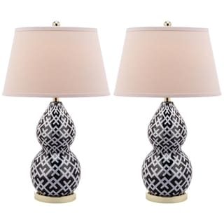 Cross Hatch Double Gourd 1-light Black Table Lamps (Set of 2)