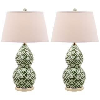 Cross Hatch Double Gourd 1-light Green Table Lamps (Set of 2)