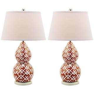 Safavieh Cross Hatch Double Gourd 1-light Orange Table Lamps (Set of 2)