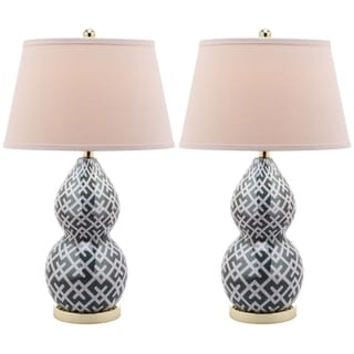 Cross Hatch Double Gourd 1-light Marine Blue Table Lamps (Set of 2)