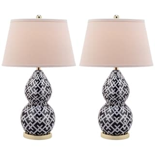 Cross Hatch Double Gourd 1-light Navy Table Lamps (Set of 2)