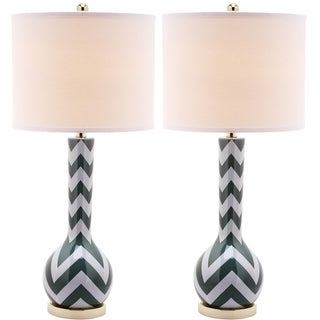 Chevron Long Neck Ceramic 1-light Marine Blue Table Lamps (Set of 2)
