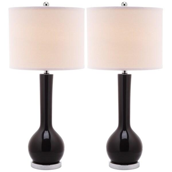 Safavieh Mae Long Neck Ceramic 1-light Black Table Lamps (Set of 2)