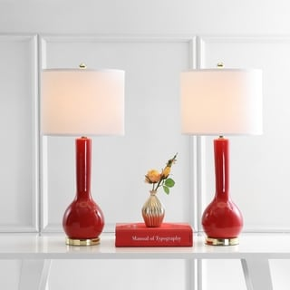 Safavieh Lighting 30.5-inches Mae Long Neck Ceramic Red Table Lamps (Set of 2)