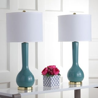 Safavieh Lighting 30.5-inch Mae Long Neck Ceramic Marine Blue Table Lamps