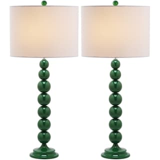 Jenna Stacked Ball 1-light Dark Green Table Lamps (Set of 2)