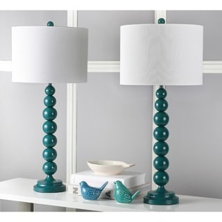 Safavieh Lighting 31-inches Jenna Stacked Ball Dark Green Table Lamps (Set of 2)