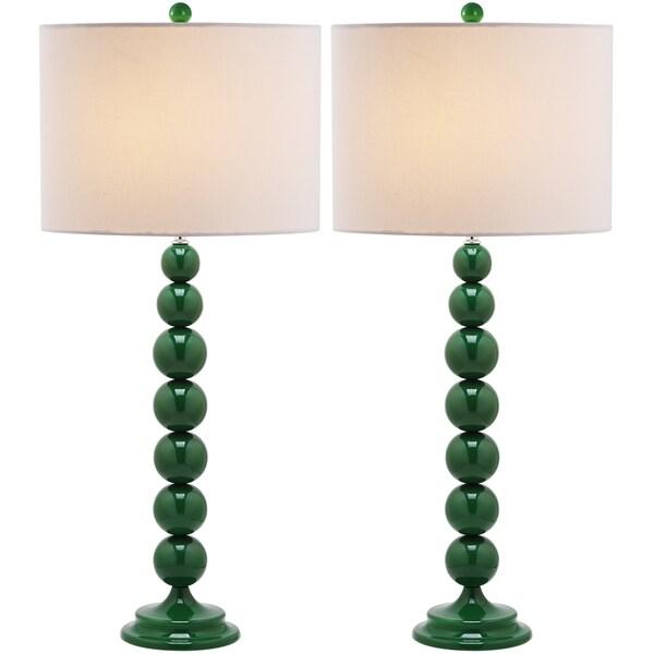 Safavieh Jenna Stacked Ball 1-light Dark Green Table Lamps (Set of 2)