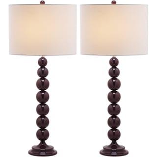 Jenna Stacked Ball 1-light Dark Purple Table Lamps (Set of 2)
