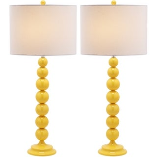 Jenna Stacked Ball 1-light Yellow Table Lamps (Set of 2)