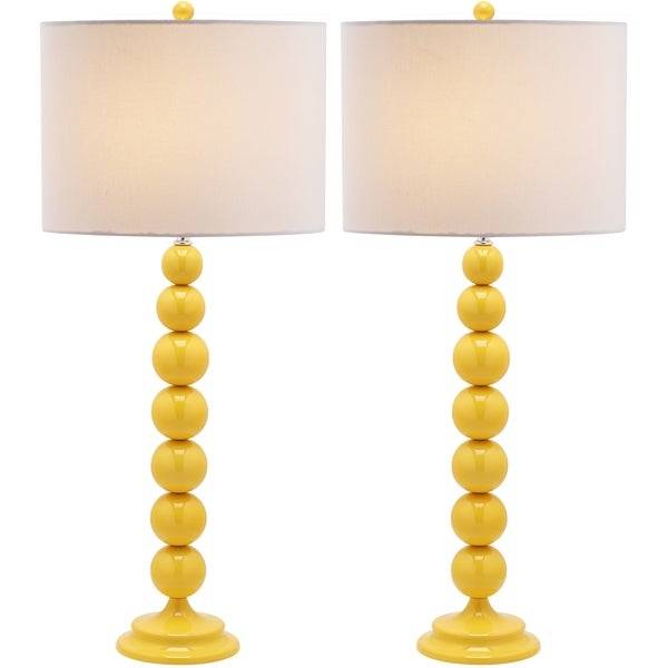 Safavieh Jenna Stacked Ball 1-light Yellow Table Lamps (Set of 2)