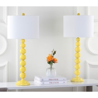 Safavieh Lighting 31-inches Jenna Stacked Ball Yellow Table Lamps (Set of 2)