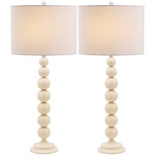 Jenna Stacked Ball 1-light Pearl White Table Lamps (Set of 2)