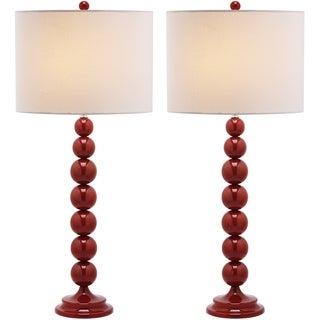 Safavieh Jenna Stacked Ball 1-light Red Table Lamps (Set of 2)