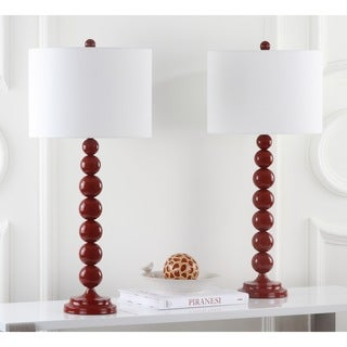 Safavieh Lighting 31-inches Jenna Stacked Ball Red Table Lamps (Set of 2)