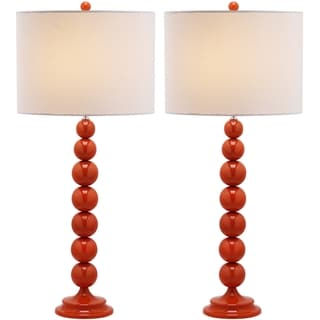Jenna Stacked Ball 1-light Orange Table Lamps (Set of 2)