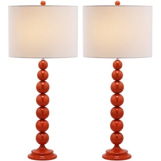 Safavieh Jenna Stacked Ball 1-light Orange Table Lamps (Set of 2)