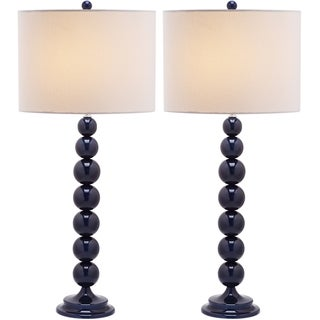 Jenna Stacked Ball 1-light Navy Table Lamps (Set of 2)