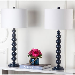 Safavieh Lighting 31-inches Jenna Stacked Ball Navy Table Lamps (Set of 2)