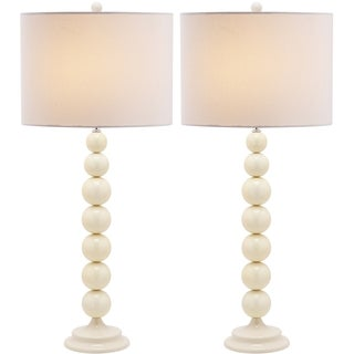Jenna Stacked Ball 1-light White Table Lamps (Set of 2)
