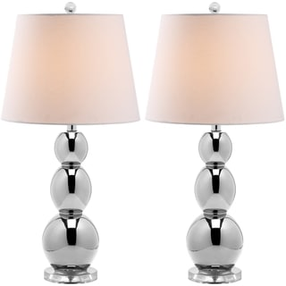 Jayne Three Sphere Glass 1-light Silver Table Lamps (Set of 2)