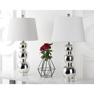 Safavieh Lighting 26.5-inches Jayne Three Sphere Glass Silver Table Lamps (Set of 2)
