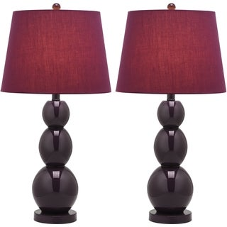 Safavieh Lighting 27.5-inches Jayne Three Sphere Glass Dark Purple Table Lamps