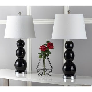 Safavieh Lighting 27.5-inches Jayne Three Sphere Glass Black Table Lamps (Set of 2)