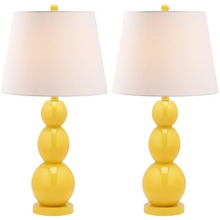 Safavieh Jayne Three Sphere Glass 1-light Yellow Table Lamps (Set of 2)