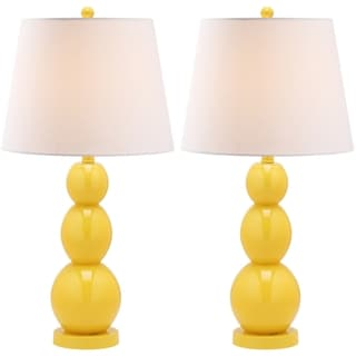 Jayne Three Sphere Glass 1-light Yellow Table Lamps (Set of 2)