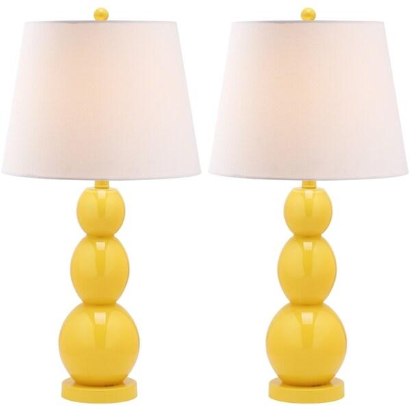 safavieh jayne three sphere glass 1 light yellow table lamps set of 2. Black Bedroom Furniture Sets. Home Design Ideas