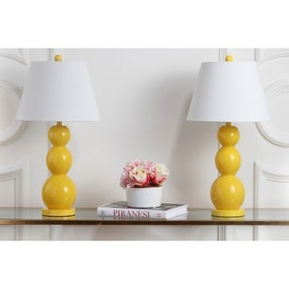 Safavieh Lighting 27.5-inches Jayne Three Sphere Glass Yellow Table Lamps (Set of 2)