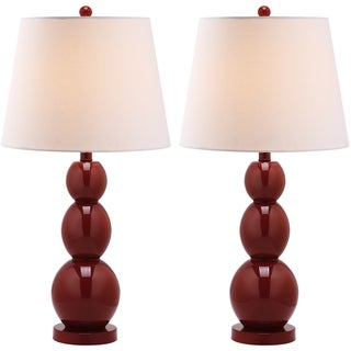 Jayne Three Sphere Glass 1-light Red Table Lamps (Set of 2)