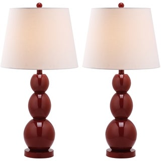 Safavieh Lighting 27.5-inches Jayne Three Sphere Glass Red Table Lamps (Set of 2)