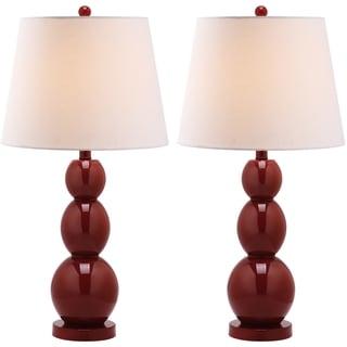 Safavieh Lighting 27.5-inch Jayne Three Sphere Glass Red Table Lamps (Set of 2)
