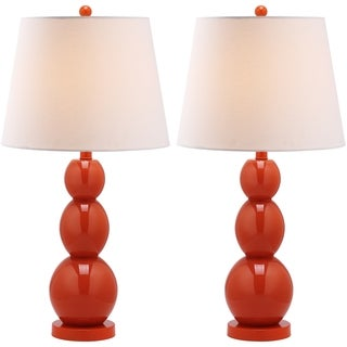Safavieh Lighting 27.5-inch Jayne Three Sphere Glass Orange Table Lamps (Set of 2)
