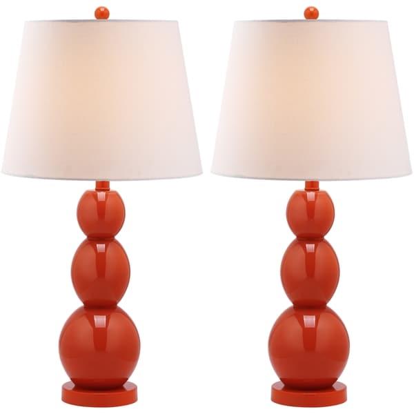 Safavieh Lighting 27.5-inch Jayne Three Sphere Glass Orange Table Lamps (Set of 2)