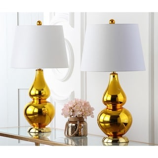 Safavieh Lighting 26.5-inch Cybil Double Gourd Gold Table Lamps (Set of 2)