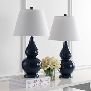 Safavieh Lighting 26.5-inch Cybil Double Gourd Navy Table Lamps (Set of 2)